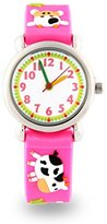 Jewtme Watch Pink Silicone Environmentally Friendly Materials Band Cow Children Cartoon Watch