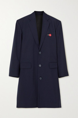 Balenciaga Embroidered Wool-blend Coat - Navy