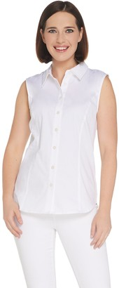 Joan Rivers Classics Collection Joan Rivers Sleeveless Button Front Collared Blouse