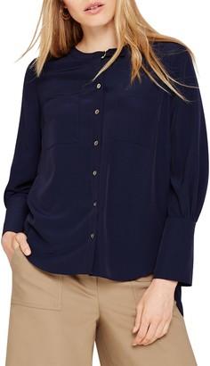 Damsel in a Dress Jessy Pleat Detail Blouse, Navy