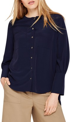 Damsel in a Dress Jessy Pleat Detail Blouse, Navy