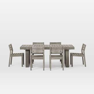 """west elm Portside Outdoor 76.5"""" Dining Table & 6 Solid Wood Chairs Set"""