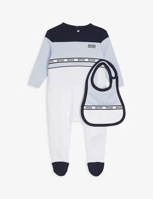 HUGO BOSS Logo-print cotton babygrow and bib set 3-18 months