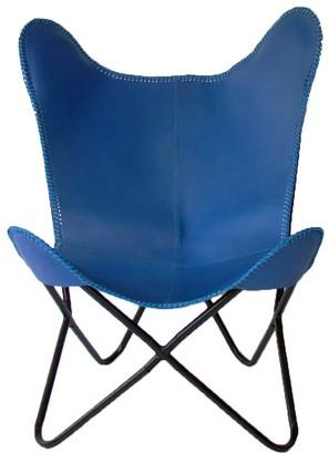 Nubuck Butterfly Chair Cobalt Blue