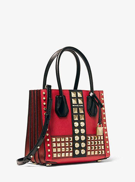 Michael Kors Mercer Medium Studded Leather Accordion Crossbody Bag