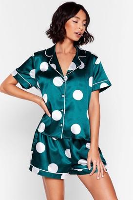Nasty Gal Womens My Spotlight Short Satin Pyjama Set - Green - 6, Green
