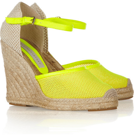 Stella McCartney Faux leather and mesh wedge espadrilles