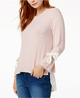 Kensie Ribbed Tie-Sleeve Top