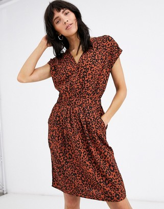 Ichi leopard print shift dress