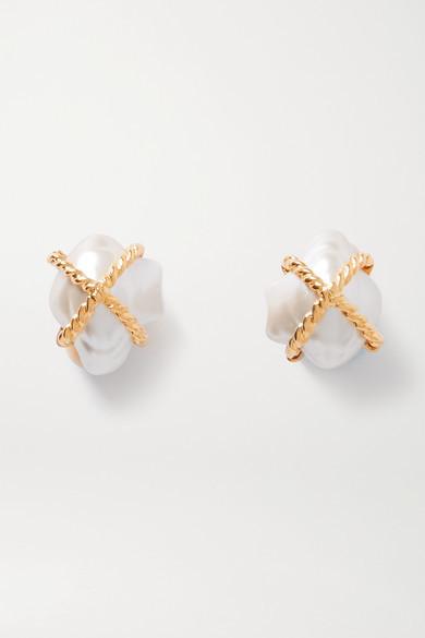 Kenneth Jay Lane Gold-tone Faux Pearl Clip Earrings - one size