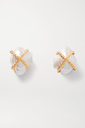 Kenneth Jay Lane Gold-tone Faux Pearl Clip Earrings - one size