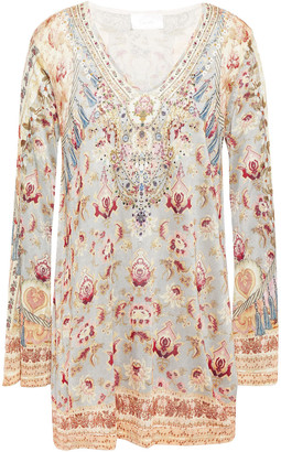 Camilla Jeanne Queen Crystal-embellished Printed Knitted Sweater