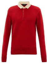 Alanui Cashmere And Wool-blend Polo Sweater - Mens - Dark Red