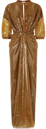 Fendi Vichy Sequin Long Dress