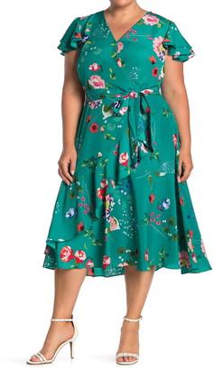 Eliza J V-Neck Floral Print Wrap Dress