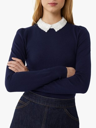 Warehouse Lace Collar Jumper, Navy