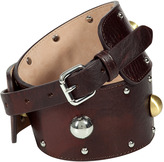 Coffee Brown Studded Leather Belt