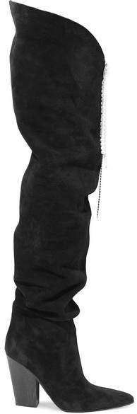 Magda Butrym Denmark Embellished Suede Thigh Boots - Black