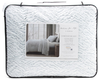 Micromink Textured Sculpted Dyed Faux Fur Comforter Set