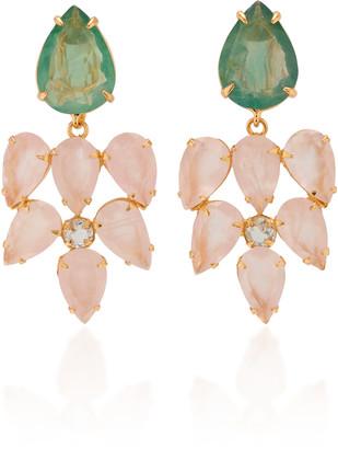 Bounkit 14K Gold-Plated, Rose Quartz, and Flourite Earrings