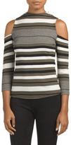 Juniors Mock Neck Cold Shoulder Sweater