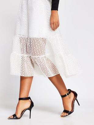River Island Broderie Organza Midi Skirt - White