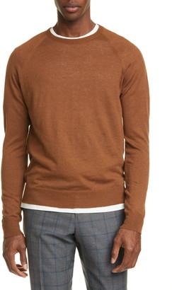 eidos Trim Fit Linen & Wool Raglan Crewneck Sweater
