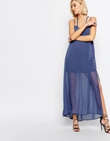 Religion Merge Maxi Dress In Moonlight Blue