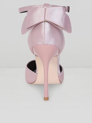Chi Chi London Heidi Bow Back Heeled Court Shoes - Mink