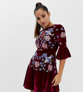 Frock and Frill Allover Premium Embellished Velvet Skater Dress With Peplum Hem