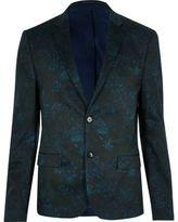 River Island MensGreen floral cropped suit jacket