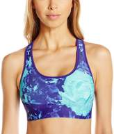 Champion Women's Absolute Sports Bra with Smoothtec Band Prints, Space Purple Glowing Floral/Space Purple
