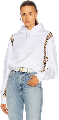 Burberry Fairhall Check Panel Sweatshirt in White | FWRD