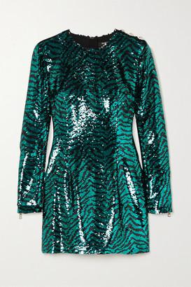 Balmain Button-embellished Zebra-print Sequined Tulle Mini Dress - Turquoise