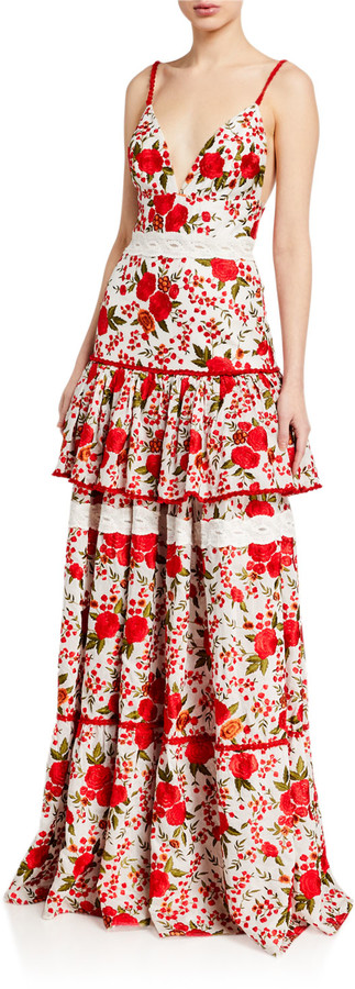 Alexis Naomie Tiered Rose-Print Long Dress