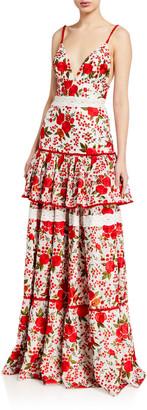 Alexis Naomie Tiered Rose-Print Long Dress