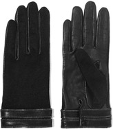 Agnelle Gisele zip-trimmed leather and silk gloves