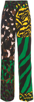 Versace Camouflage-print wide-leg silk trousers