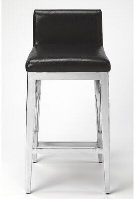 Orren Ellis Jericho Stainless Steel Faux Leather Counter 25'' Bar Stool Orren Ellis