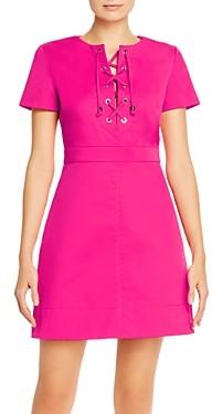 Paule Ka Cotton-Stretch Lace-Up Mini Dress