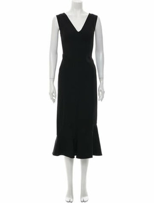 Victoria Beckham V-Neck Midi Length Dress w/ Tags Black