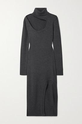 Monse Cutout Merino Wool Turtleneck Midi Dress - Dark gray
