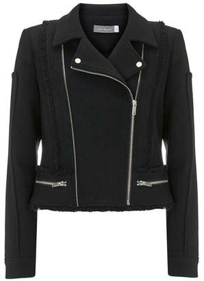 Mint Velvet Black Wool Blend Biker Jacket