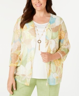 Alfred Dunner Plus Size Coastal Drive Necklace Top