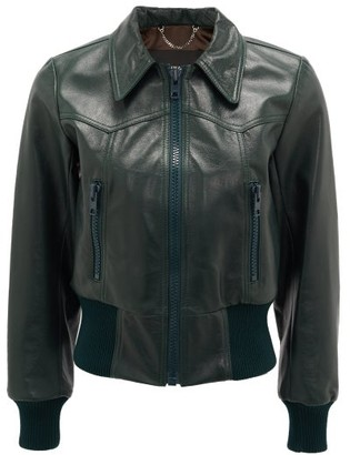 Marc Jacobs Runway - Leather Bomber Jacket - Womens - Dark Green