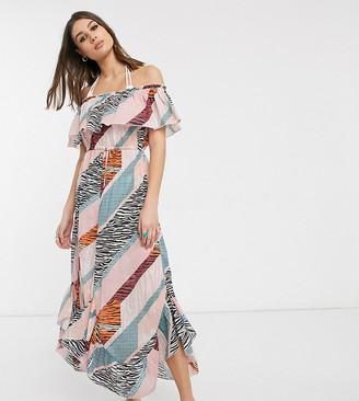 Asos Tall ASOS DESIGN tall bandeau frill maxi beach dress in sliced mixed graphic print