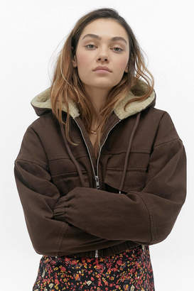 BDG Sherpa Lined Cropped Hooded Jacket