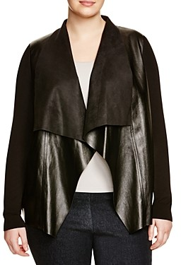 MICHAEL Michael Kors Faux Leather Drape Cardigan