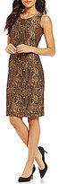 Kasper Metallic Jacquard Printed Sleeveless Sheath Dress