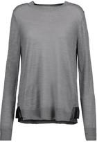 Clu Pleated Satin-Trimmed Stretch-Knit Sweater